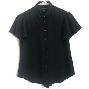 Banana Republic Black Collared Flutter Sleeve Top